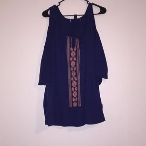 Tops - Navy blue cold shoulder peasant style top